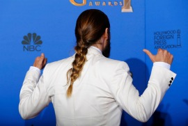 Jared Leto poses backstage during the 72nd Golden Globe Awards in Beverly Hills